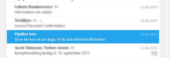 """""""Så er der kun et par dage, til du skal afsted til München!"""" siger emnelinjen"""